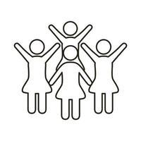 icono de estilo de línea de figuras de comunidad de ganadoras vector