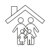 parents couple and children figures in house line style icon vector