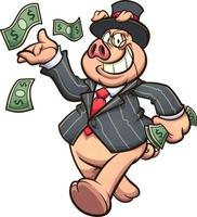 Rich capitalist pig vector