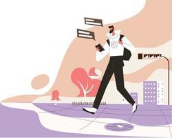 Man using phone on street vector illustration