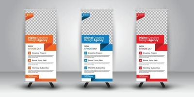 Rollup Design Presentation with color variations vector