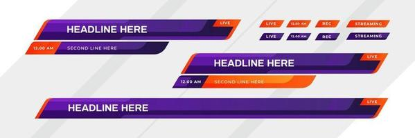 Lower third template Set of TV banners and bars for news and sport channels streaming and broadcasting Collection of lower third for video editing on transparent background vector illustration
