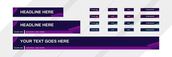 lower third design with modern digital futuristic purple color vector