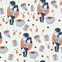 Seamless pattern of partner in love vector
