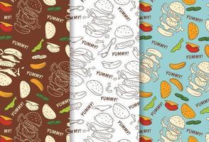 Seamless pattern of vintage hamburger hand drawn vector