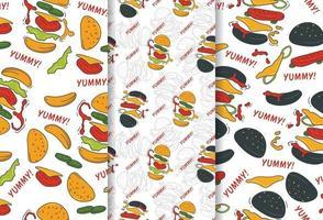 Seamless pattern of restaurant hamburger vector