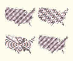 Set of  Maps USA American with  Different line effect Vector illustration