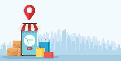 Online shopping on application and mobile concept digital marketing online vector