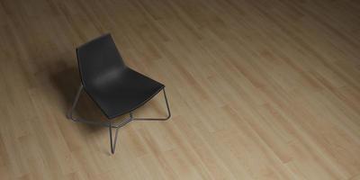 Silla moderna colocada sobre un piso de madera con iluminación, ilustración 3d foto