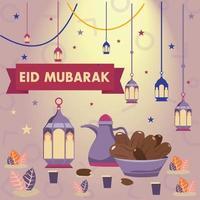 eid mubarak food banquet background illustration vector