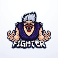 Vector Illustration of Angry Fighter