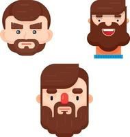 Set of three flat design man face with different hairstyle and beard vector