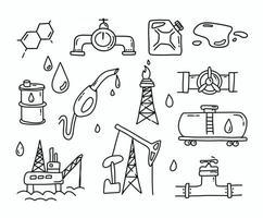 conjunto de doodle de gas y petróleo vector