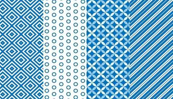 Blue and white seamless pattern set vector