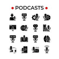 Podcast glyph icons set vector