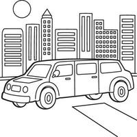 Stretch Limousine Kids Coloring Page vector