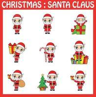christmas santa claus vector illustration set