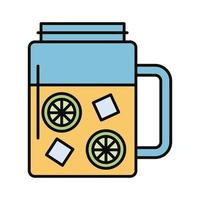 beverage with ice cubes and lemon in jar line and fill style icon vector