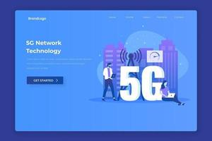 Flat illustration landing page of 5G network technology vector