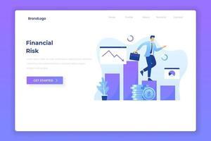 página de inicio de ilustración plana de riesgo financiero vector