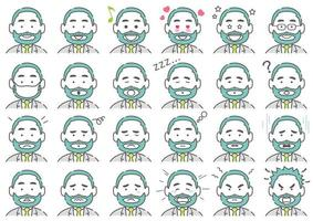 Beard Businessman Vector Various Facial Expressions Set Isolated On A White Background