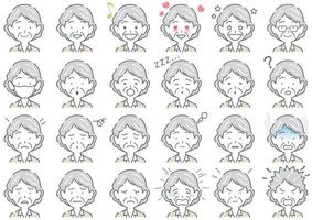 Elderly Businesswoman Vector Various Facial Expressions Set Isolated On A White Background
