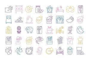 paquete de iconos de estilo de línea de insomnio vector
