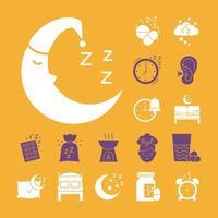 luna y paquete de iconos de estilo de silueta de insomnio vector