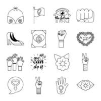 bundle of sixteen feminism line style icons vector