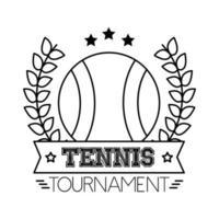 deporte de tenis de pelota con corona de corona y estilo de línea de letras vector