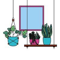 Hanging plants inside pots vector design
