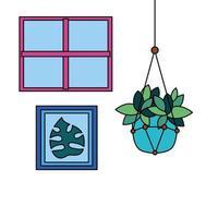 Hanging plant inside pot vector design