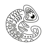 chameleon with mexican culture decoration line style icon vector