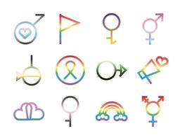sexual orientation and gender icon set vector