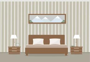 Light bedroom interior with double bed tables Flat style vector illustration design template