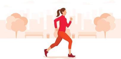 Young woman running through an urban park vector