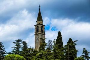 bell tower trees and sky photo