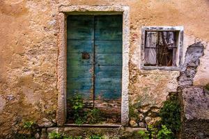 copper green wooden door photo