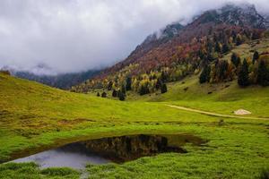 autumn reflection on the alpine lake photo