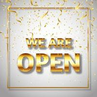 glittery gold we are open sign vector