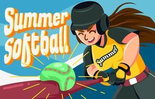 golpear pelota de softbol vector