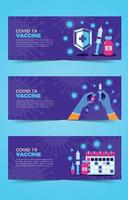 Flat Covid 19 Vaccine Banner Collection vector