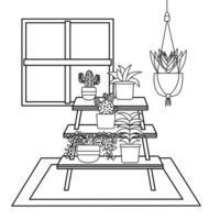 Plants inside pots and furniture vector design