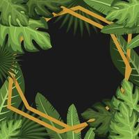 Summer Tropical Floral Line Art Frame Background vector