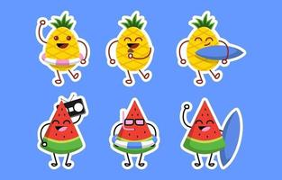 Watermelon and Pineapple Icon Set vector