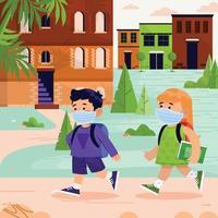 los estudiantes caminan juntos van a la escuela vector