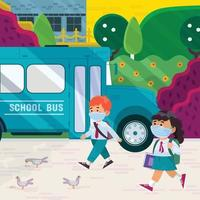 Students Walk in the School vector