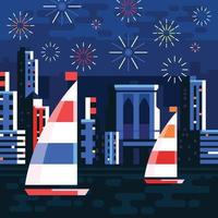 Fireworks Over the Sea with Skyline Background vector
