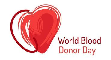 World blood donor day June 14 Doodle abstract red heart emblem Medical vector illustration