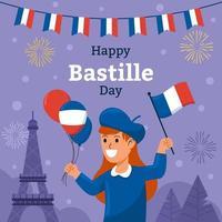 Girl Celebrating Bastille Day vector